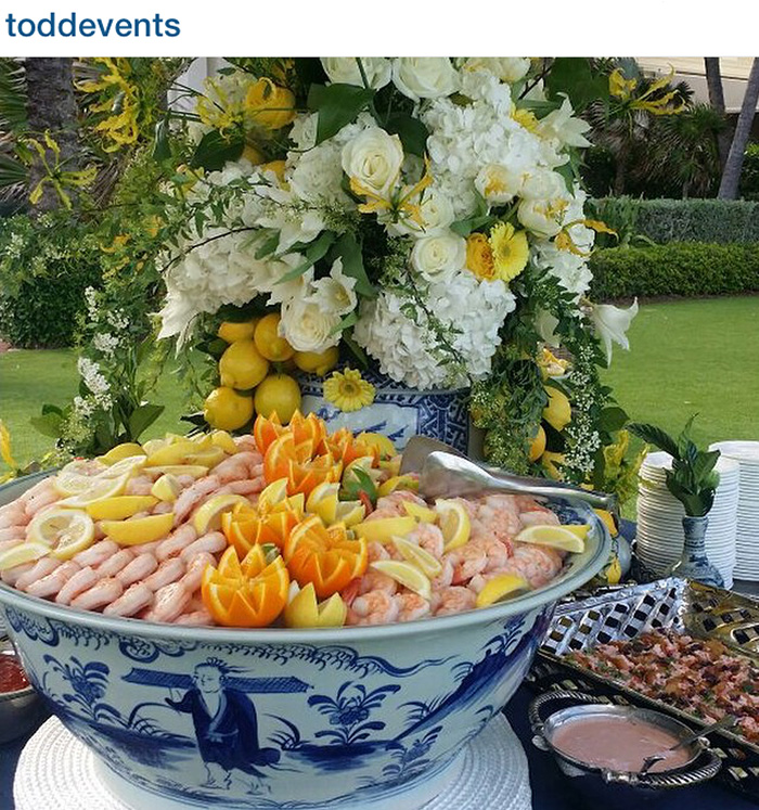 Todd Events creates a beautiful buffet using blue and white Chinese ceramics.
