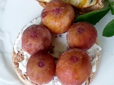 Whole wheat English muffin with goat cheese and figs