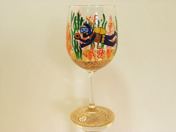scuba diver wine glass