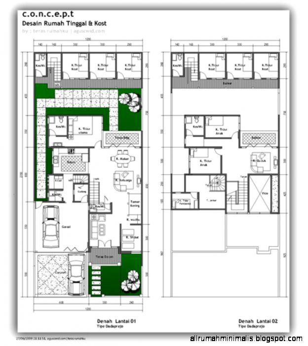Desain Denah Rumah Tinggal dan Kost  Cara Mendesain Rumah
