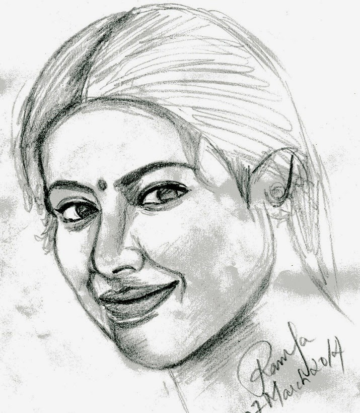 Pencil sketch free hand drawing of the actress meena for Sketch online free