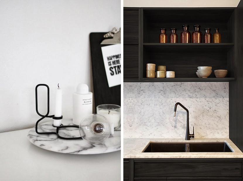 Marmer Zwart Keuken : Zwart en marmeren keuken bar kant u stockfoto denisismagilov