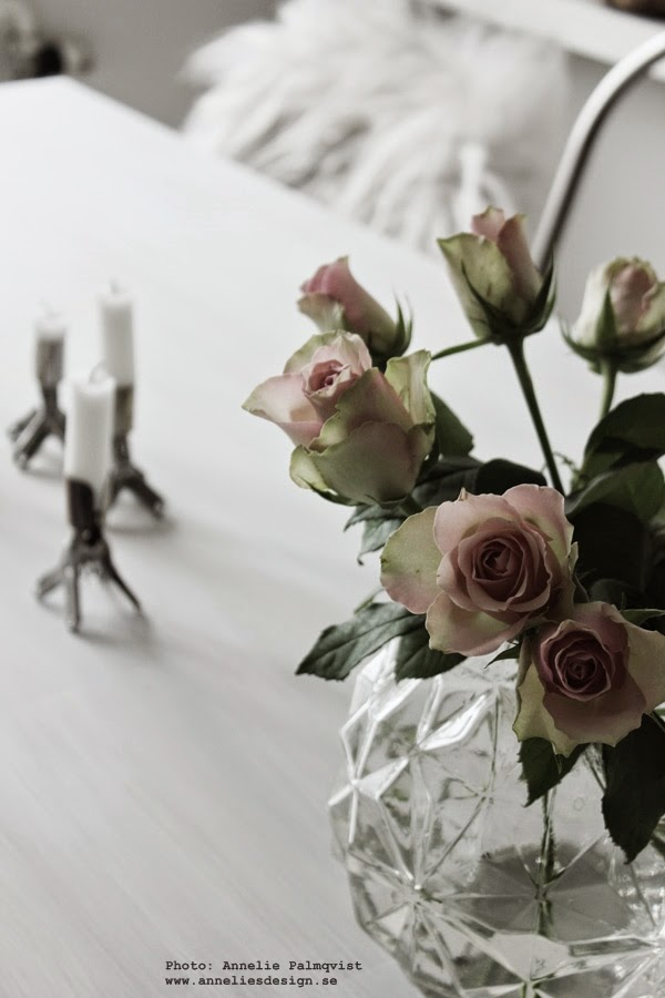 rosa rosor, rund vas, vaser, ros, blommor, blomma, snittblomma, snittblommor, ljusstake, ljusstakar, vitt, vita, kök, fårskinn