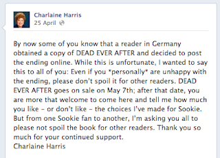 Charlaine Harris Facebook response to German spoiler