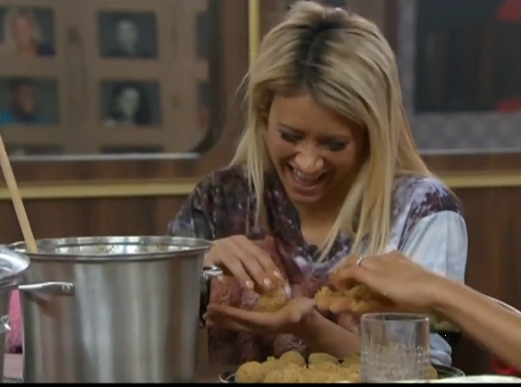 In the kitchen Gina Marie is making slop balls with Helen and