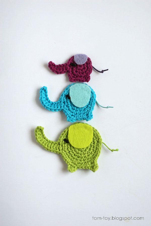 Elephants crochet appliques