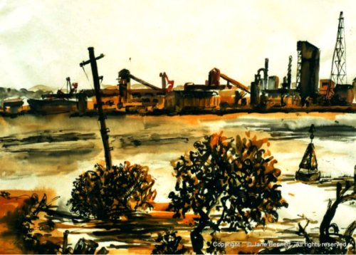 plein air ink drawing of BHP steelworks Kooragang Island by industrial heritage artist Jane Bennett