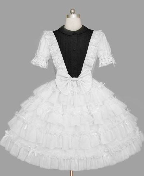 Whimsical Black and White Lace and Ruffle Gothic Lolita Dress