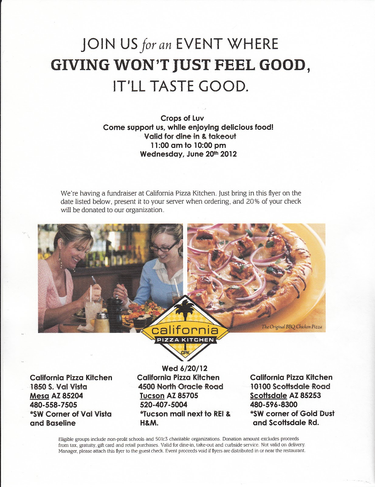 Crops Of Luv Happenings California Pizza Kitchen Fundraiser For Crops Of Luv