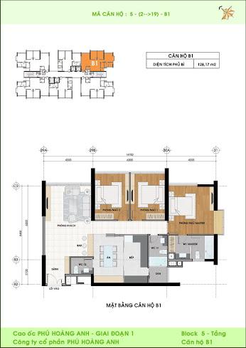 mặt bằng căn hộ B1 Phú Hoàng Anh