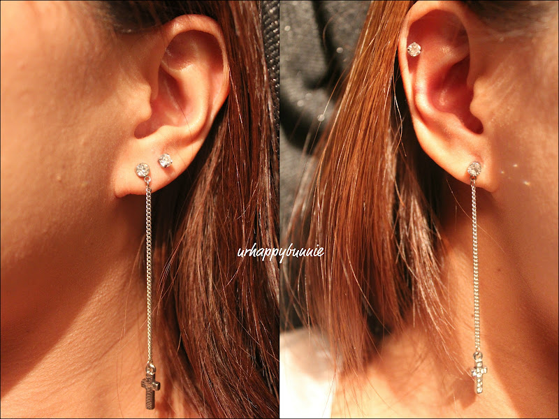 chose the stainless steel 4mm CZ; cross dangling earrings are from  title=
