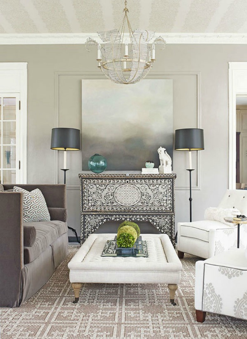 Gray coastal modern living room with white chaise and gray sofa