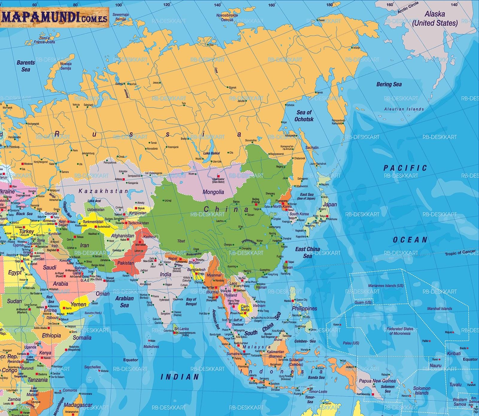 Mapa Mundo Asia - Mapa de united states