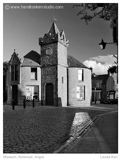 Kirriemuir cobbles reflection Angus Scotland black white town scape