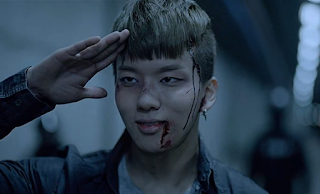 B.A.P BAP One Shot Youngjae undercover officer salute