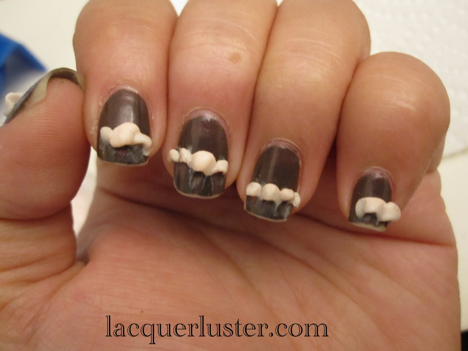 Lacquerluster: Purple Tips and Lunula (with Bling and Bow!)