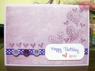 Purple Happy Birthday Love Handmade Card