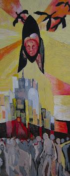 Mujer, pájaros, ciudad y gente