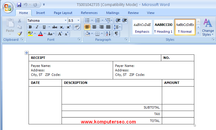 Receipt Templates Microsoft Word 2010