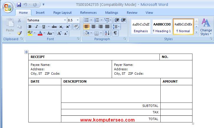 Download template kwitansi untuk word dan excel 2007, 2010 ...