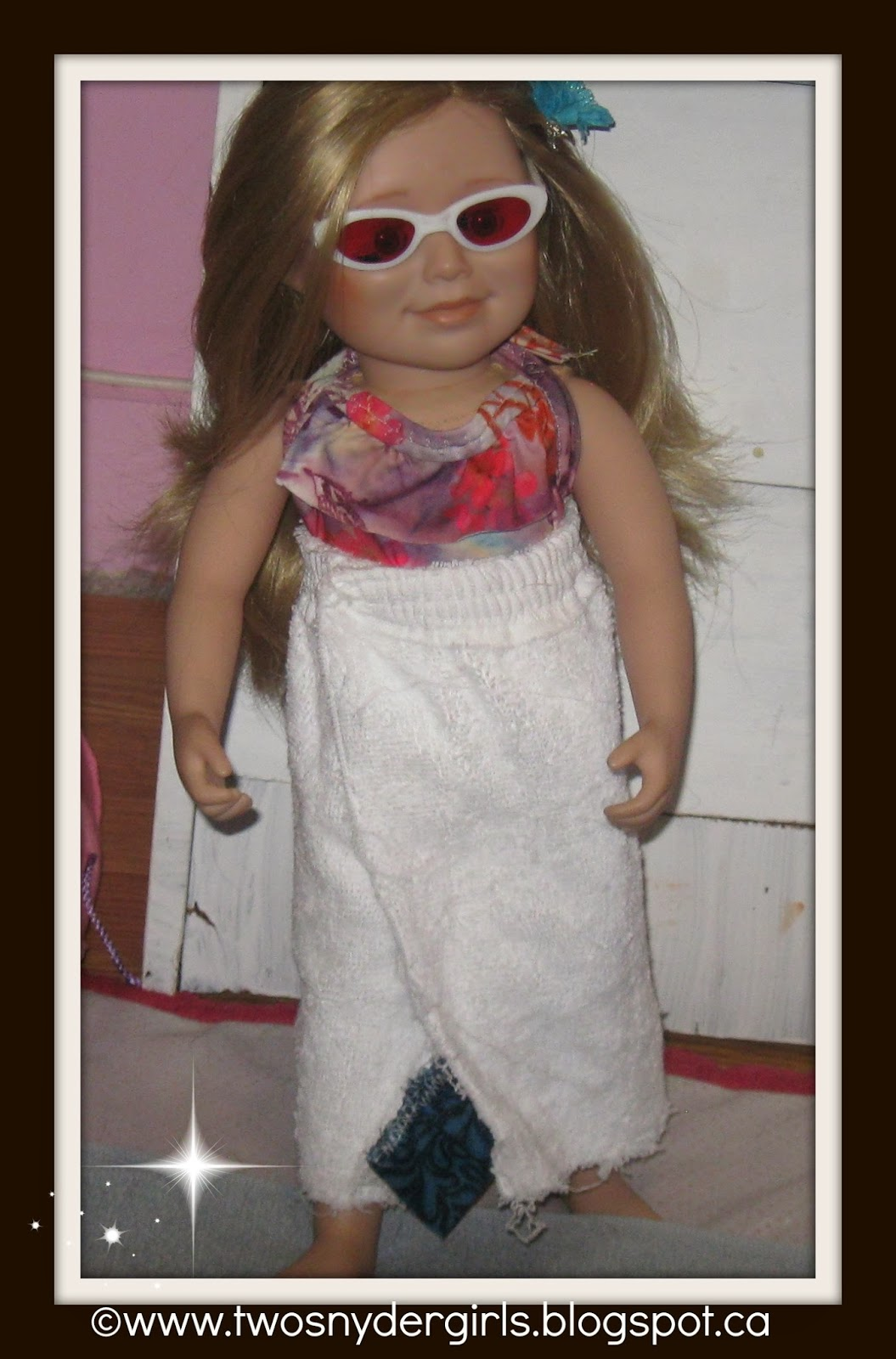 Maplelea 18 inch doll in bathing suit cover up