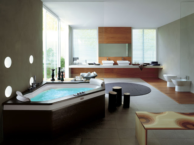 Contemporary bathroom with large windows