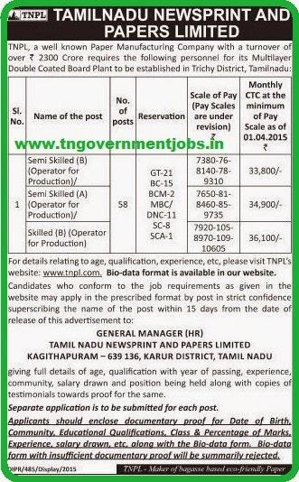 Tamilnadu Newsprints and Papers Ltd, Chennai [www.tngovernmentjobs.in]
