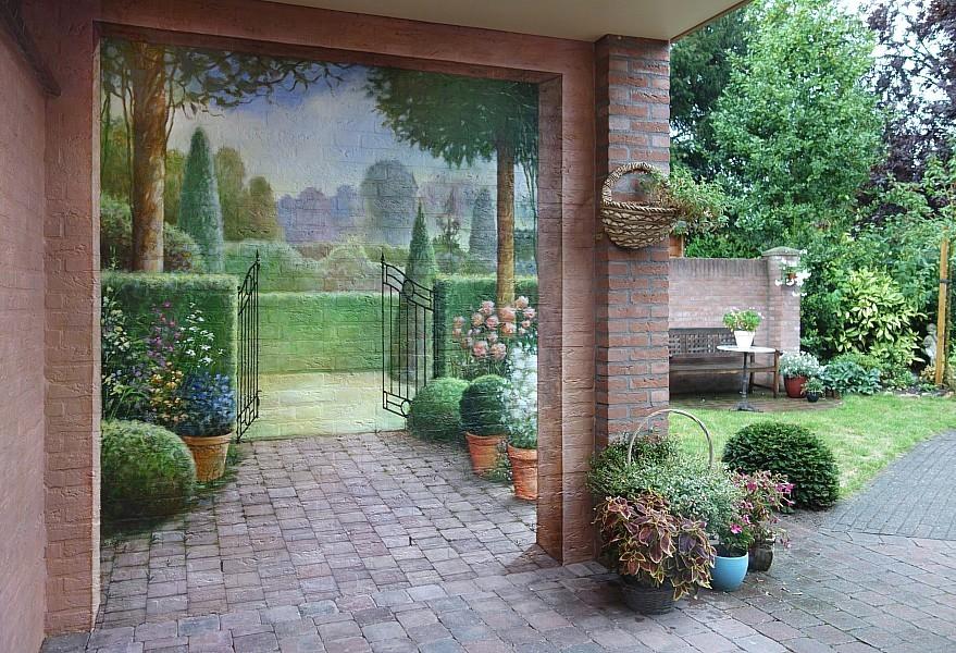 Muurschilderingen eddie van hoef muurschildering op een Garden wall color ideas