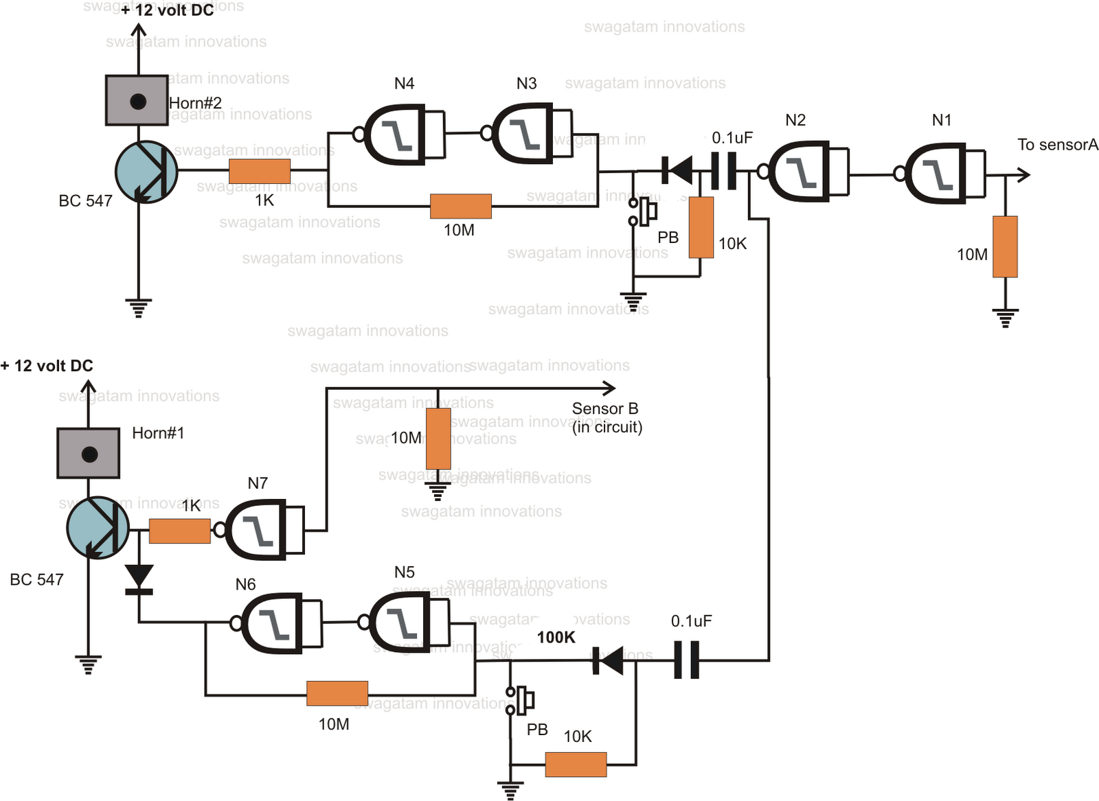 My World Of Electronics Water Alarm Circuit Functioning The Above Configuration