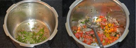 sauteing onion and tomato