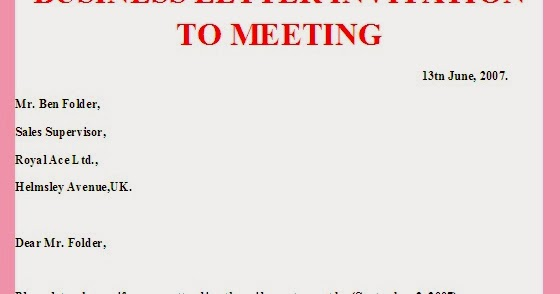 business letter business letter invitation to meeting