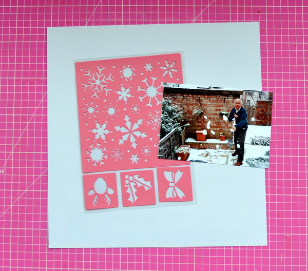 Winter Delight Stickable Stencil Tutorial by Denise van Deventer using the BoBunny Sleigh Ride Collection