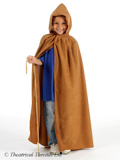Light brown hooded kids fancy dress cloak from Theatrical Threads