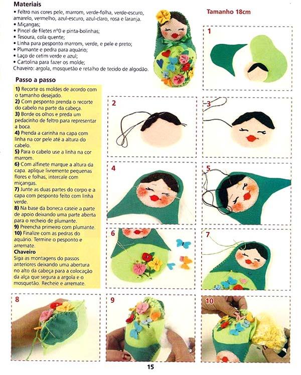 текстильная игрушка матрёшка с выкройкой