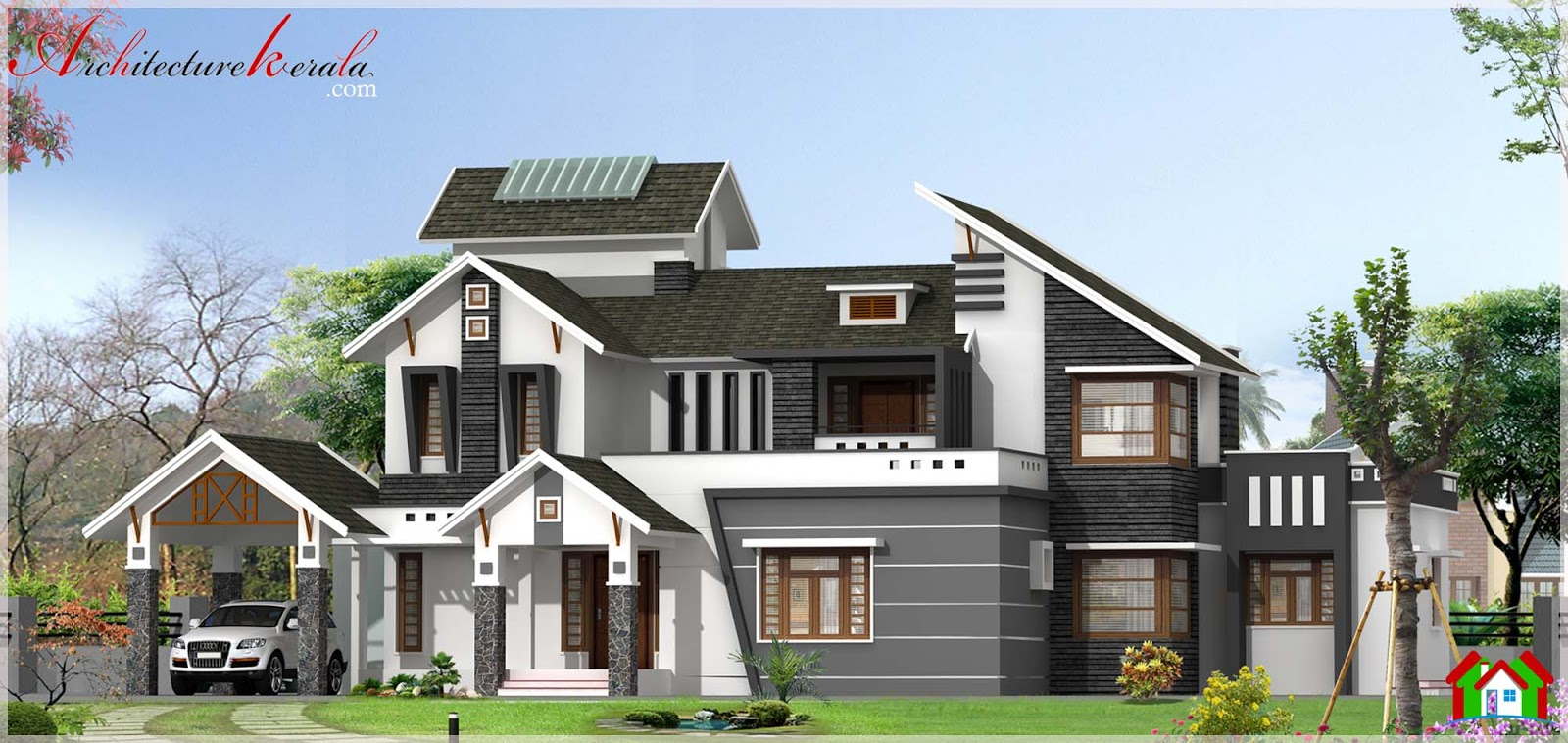 Modern house elevation in 3000 square feet architecture Modern square house