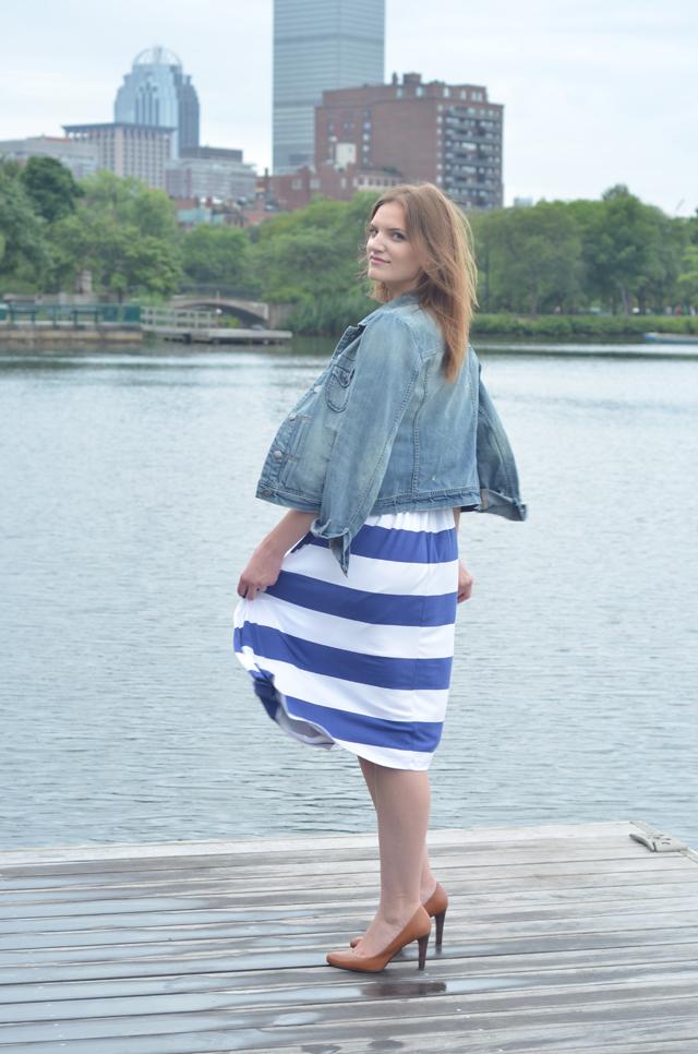 ASOS Midi Dress In Stripe With Scoop Back
