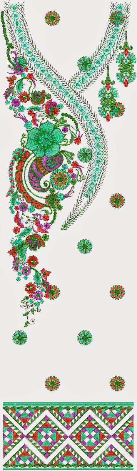 Embdesigntube Lightning Kurti Neck Dress Embroidery Designs