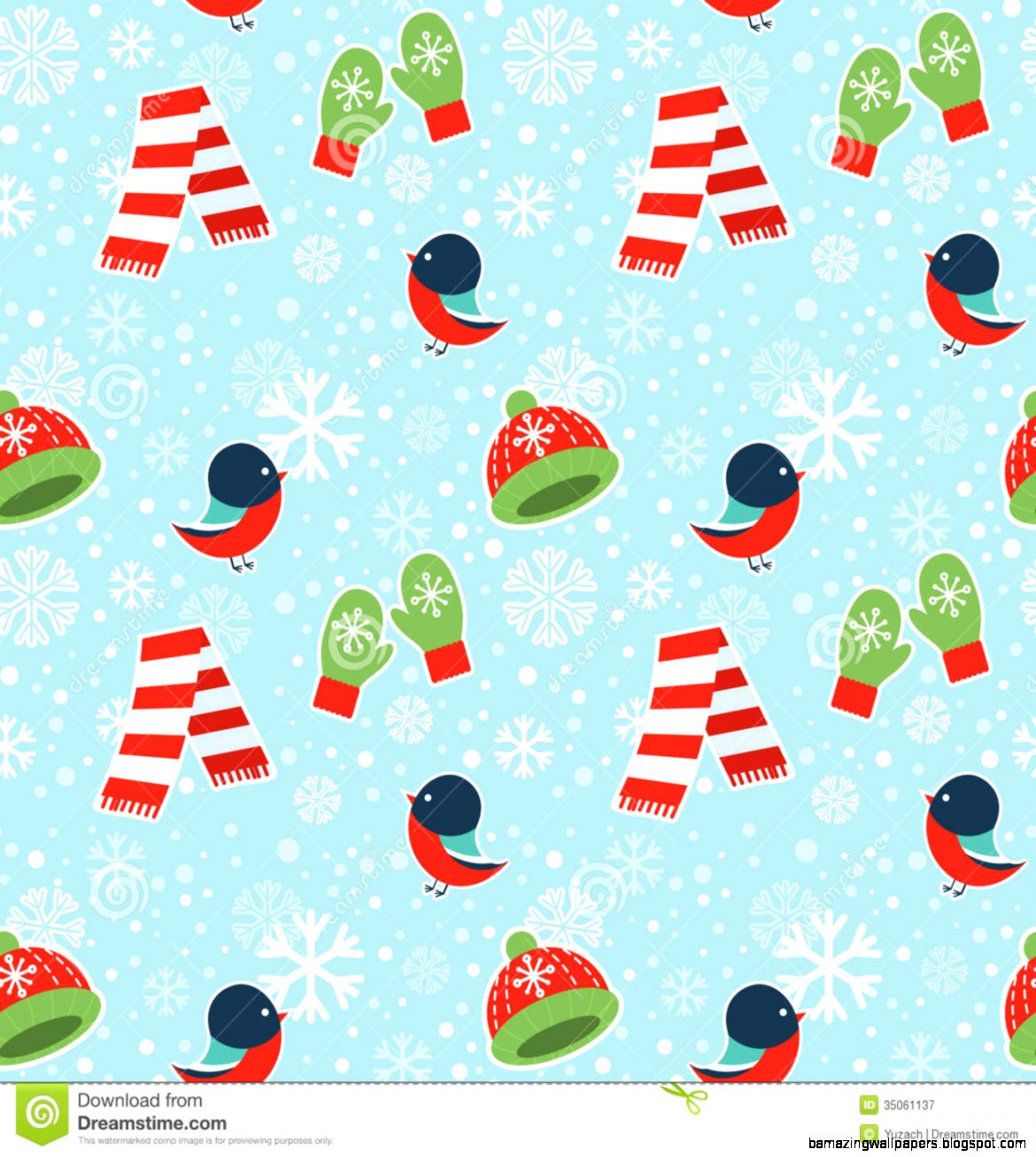 Cute Winter Seamless Pattern On Snowflakes Background Royalty Free