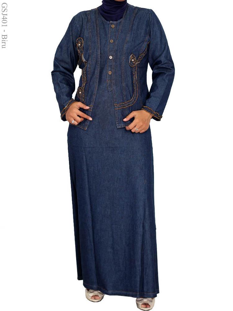 Gamis Jeans Muslimah Gsj401 Busana Muslim Murah Terbaru