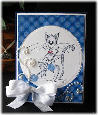 Stamps North Coast Creations Knitting Kitty - Designer Lori Ulrich