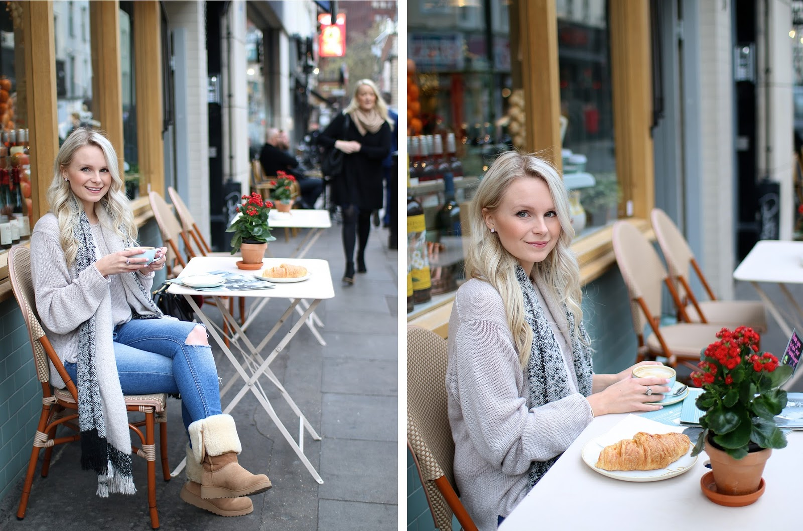 a women sips coffee in front of a cafe wearing beige ugg boots and cozy scarf