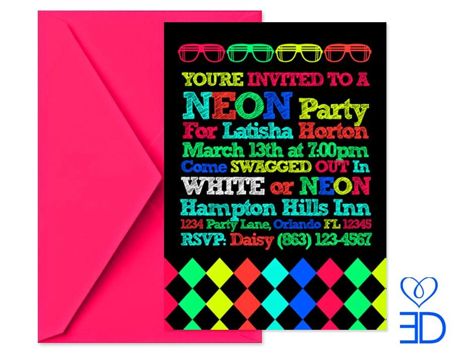 Neon Birthday Invitations and get inspiration to create nice invitation ideas