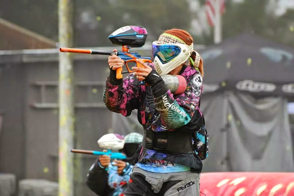 Naked women playing paintball