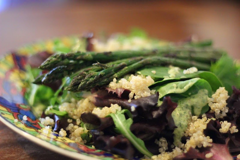 Quinoa Salad with Asparagus Spears and Tahini Dressing