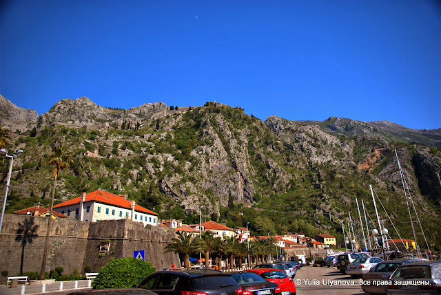 Вид на горы с набережной Котора. Черногория