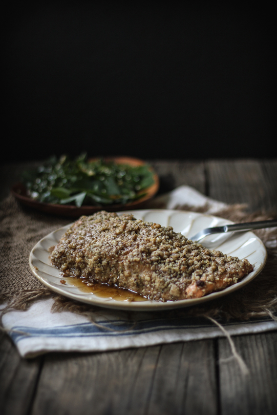 ... Rosemary Encrusted Salmon with a Sesame Ginger Kale & Quinoa Leaf