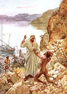 """Jesus meeting the demoniac"" by William Brassey Hole"