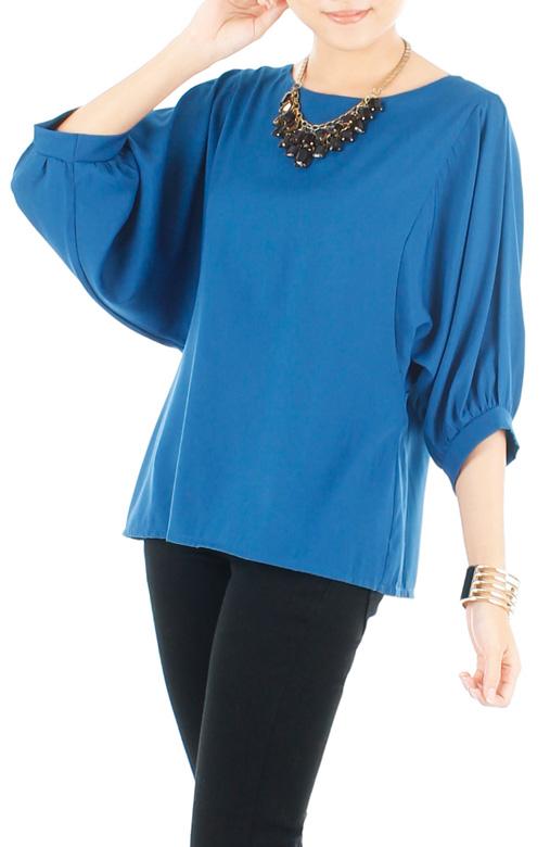 Dolman Back Button Blouse - Brilliant Blue