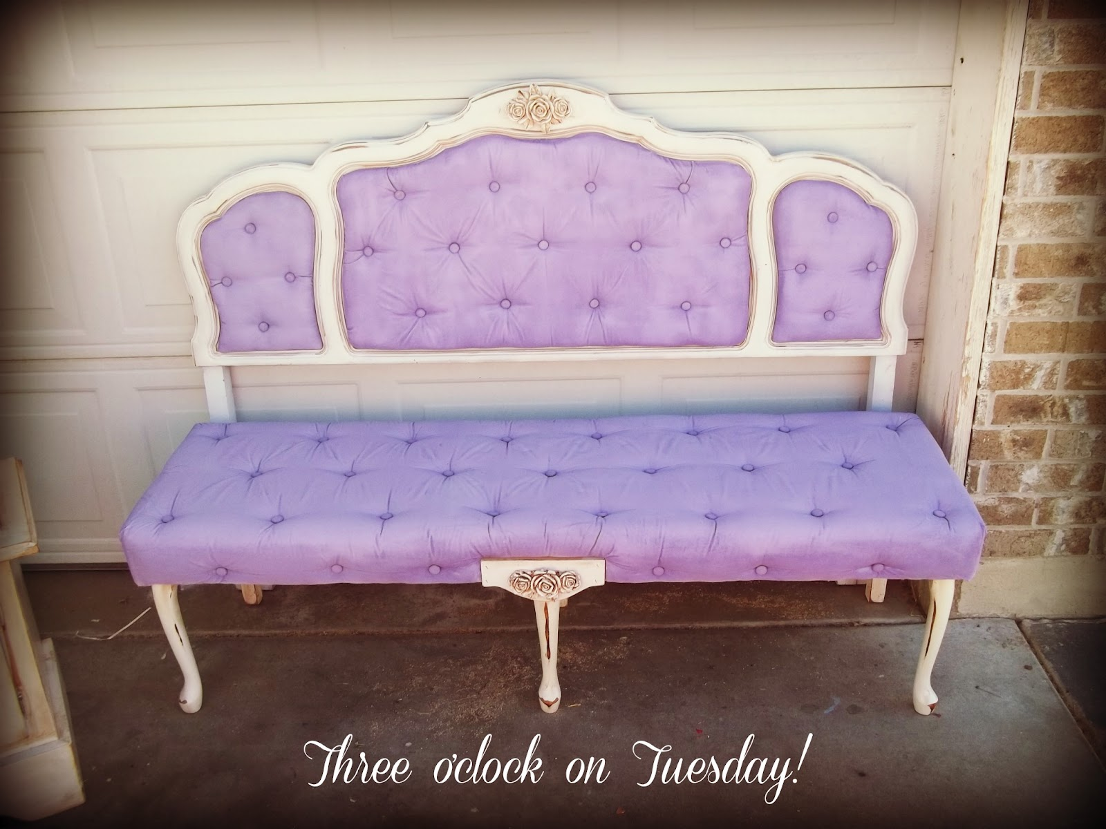sold beautiful shabbychic full size headboard and bedend bench