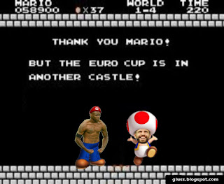 Balotelli dressed up like Mario Bros realizes the euro cup is in another castle